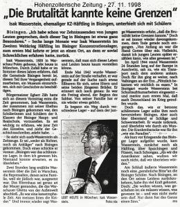 Hohenzoll. Zeitung 27.10.98