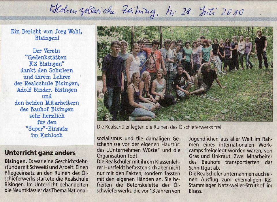 Schüler-Aktion im Kuhloch/Exkursion der Weiher-Schule Hechingen (1/6)