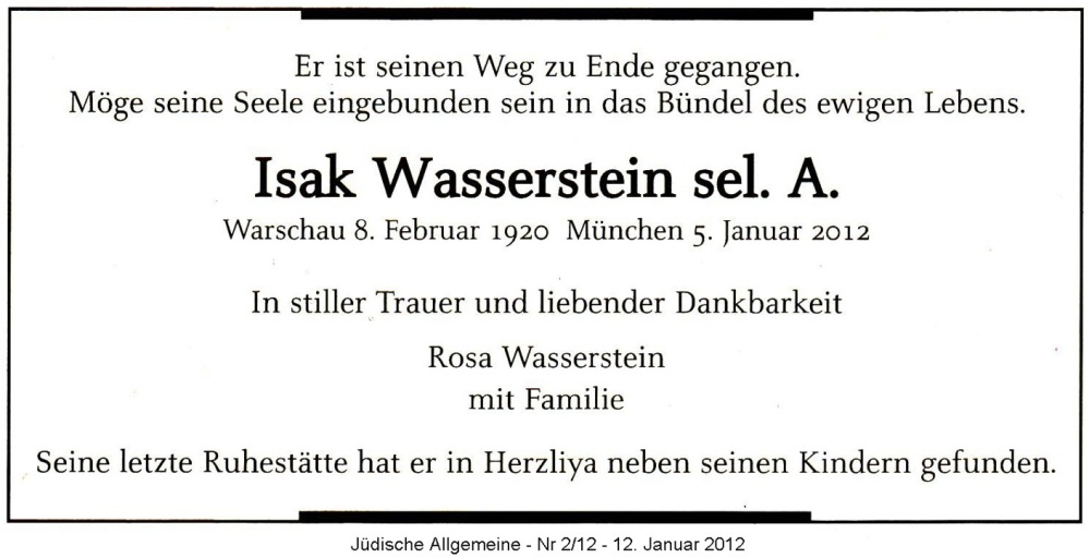 Nachruf zum Tod von Isak Wasserstein - München am 05. Januar 2012 (1/6)