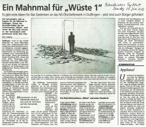 Schwäbisches Tagblatt 23.Juni 2012Mahnmal %22Wüste 1%22