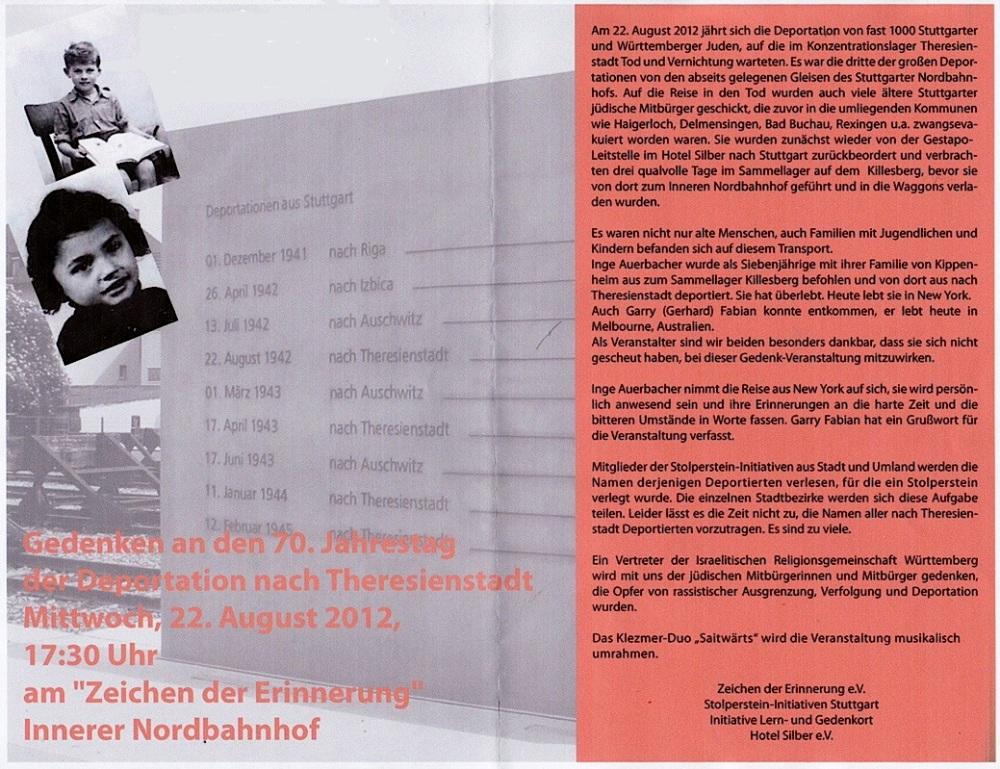 70. Jahrestag der Deportation vom Stuttgarter Nordbahnhof nach Theresienstadt (1/6)