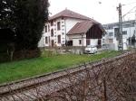 Riehen 1.3.2014  Behnhofsgebäude heute  und Bahngleise