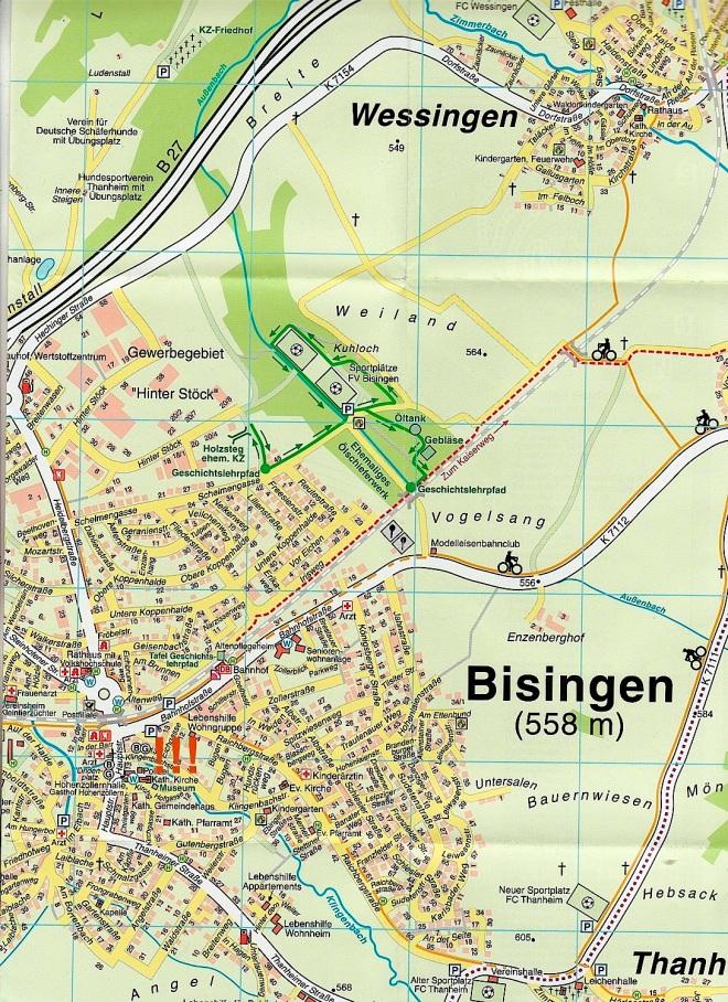 Ortsplan der Gemeinde Bisingen mit Geschichtslehrpfad und Museum