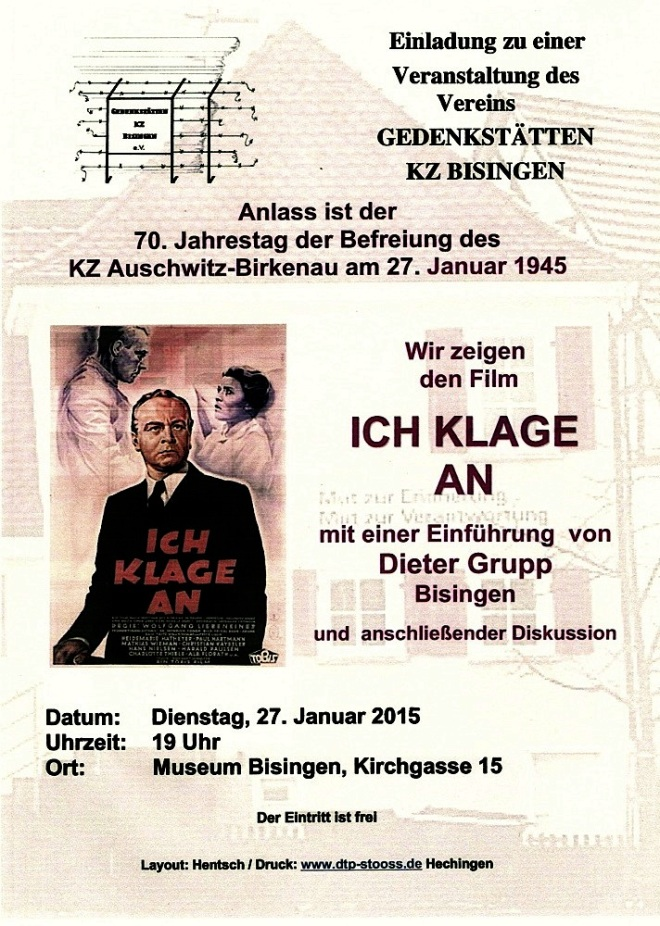 Plakat zum 27, Januar 2015 Museum Bisingen