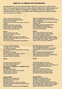 """Das """"Natzweiler-Lied"""" dem auch der französische Titel der Ausstellung zugeordnet ist"""