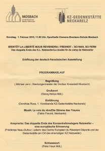 Eröffnung der deutsch-französichen Ausstellung Programm