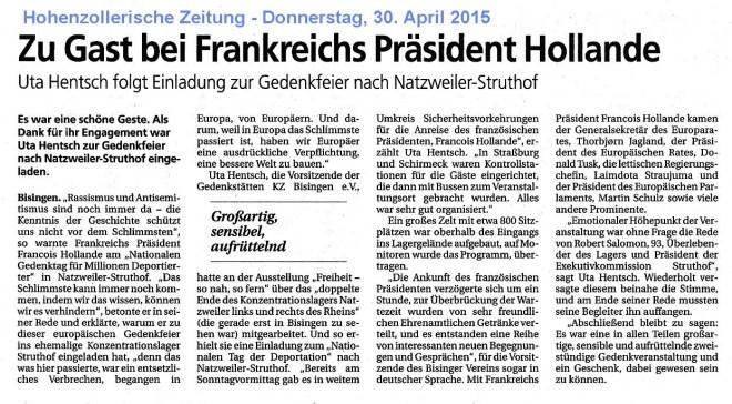 Hohenzollerische Zeitung 30. April 2015 - Struthof