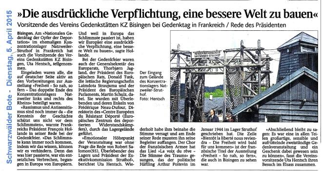 Schwartwälder Bote 5. April 2015 - Struthof