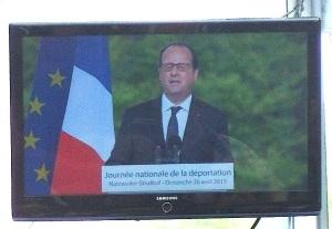 Struthof 26. Aprul 2015 - Präsident Hollande bei seiner Rede