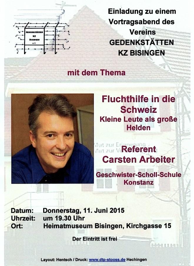 11. Juni 2015 Carsten Arbeiter - Plakat : Flyer