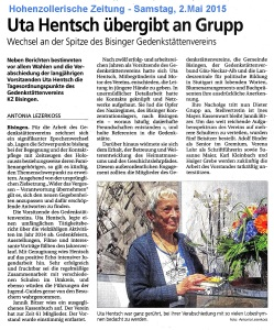 Hohenzollerische Zeitung, Samstag, 3. Mai 2015