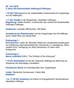 Programm 5 Jahre KZ Gedenkstätten Hailfingen-Taifingen am 28. Juni 2015
