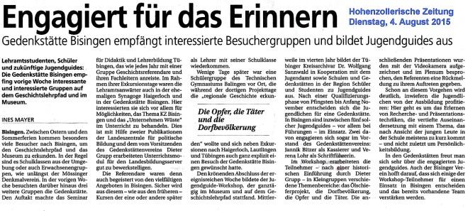 Hohenzollerische Zeitung  4.8 2015 - Engagiert füe das Einnern