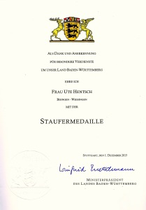 Staufer-Medaille Urkunde - 25.1.2016